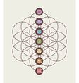 Chakra icons on flower of life modern design vector image vector image