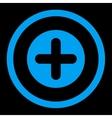 Create flat blue color rounded icon vector image