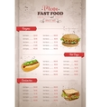 Drawing vertical color fast food menu design vector image vector image