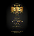 exclusive invitation card in gold and black style vector image vector image