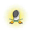 Fencing swords and helmet mask icon comics style vector image vector image