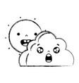 figure happy sun and surprised cloud kawaii vector image