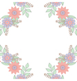 floral doodles wreath frame in entangle style vector image