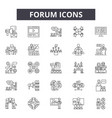 forum line icons signs set outline vector image vector image