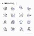 global business thin line icons set vector image vector image