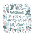 happy birthday lettering calligraphy phrase vector image vector image