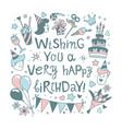 happy birthday lettering calligraphy phrase vector image vector image