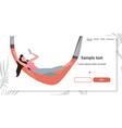 happy woman lying in hammock girl using smartphone vector image