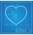 Holiday Card Heart on blueprint paper vector image vector image