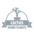 home cactus logo simple gray style vector image vector image
