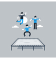 Jumping kids on trampoline vector image vector image
