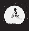 little boy flying on bicycle vector image vector image