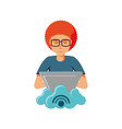 man with laptop and cloud computing vector image vector image