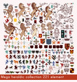 mega collection heraldic elements vector image
