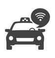 monochrome free wifi in taxi icon vector image vector image