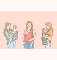 mothers carrying their kids in slings lifestyle vector image vector image