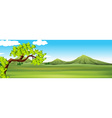 Nature scene with green field vector image