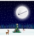 night christmas forest landscape tree vector image vector image