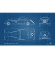 outline blueprint retro car vintage cabriolet vector image vector image