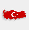 red turkey flag and map on gray background vector image