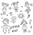 set of cartoon girls set of cartoon girls vector image vector image