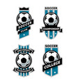 set soccer football logo emblem vector image vector image