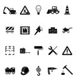 silhouette black construction icon set vector image