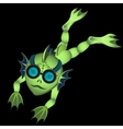 Single green diver on a black background vector image vector image