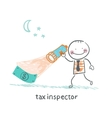 tax inspector with a lantern looking for money vector image vector image