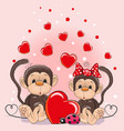 valentine card with lovers monkeys vector image vector image