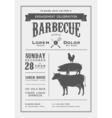 Vintage barbecue invitation card vector image