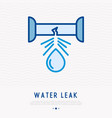 water leak from pipe thin line icon vector image