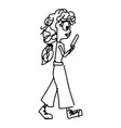woman using smartphone while walking vector image vector image