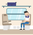 young passenger sitting in train compartment vector image vector image