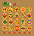 viva mexico icon set of cute various mexican vector image