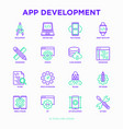 app development thin line icons set vector image