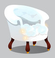 armchair of clouds isolated on grey background vector image vector image