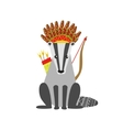 Badger Wearing Tribal Clothing vector image vector image