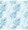 blue line art leaves seamless pattern vector image