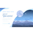 blue space futuristic landscape with asteroids vector image