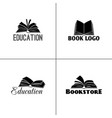 books and education logo set paper book black vector image