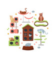 circle composition cats and their houses on vector image vector image