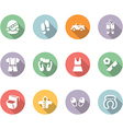 Clothing and trip icon set color with long shadow vector image