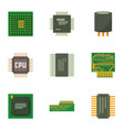 computer chip icons set cartoon style vector image vector image