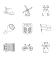Country Germany icons set outline style vector image vector image