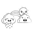 figure cute natural weather clouds with sun and vector image vector image
