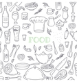 Food and drink outline doodle background Hand vector image