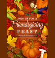 friendsgiving feast thanksgiving potluck dinner vector image