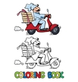 Funny pizza chef on scooter Coloring book vector image vector image