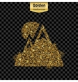 Gold glitter icon of alps isolated on vector image vector image